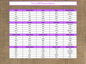 Fry's 100 Picture Nouns List 20 Categories Freebie