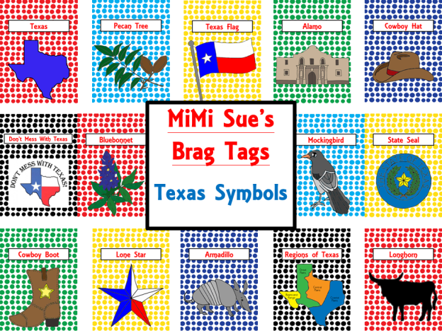 Brag Tags Texas Symbols Cover Page AD PNG