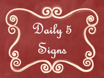 Daily 5 Signs Red Chalkboard AD PNG